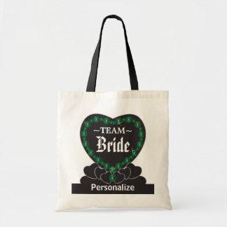 Texto del verde esmeralda el | DIY de la novia el Bolsa Tela Barata