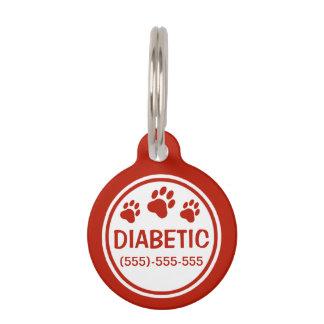 Texto diabético rojo y blanco con el personalizado placas para mascotas