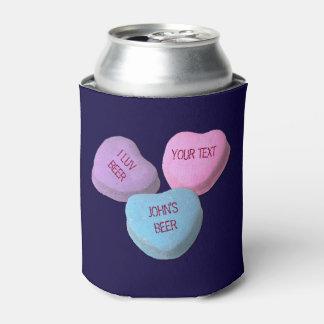 Texto divertido del personalizado del corazón del enfriador de latas
