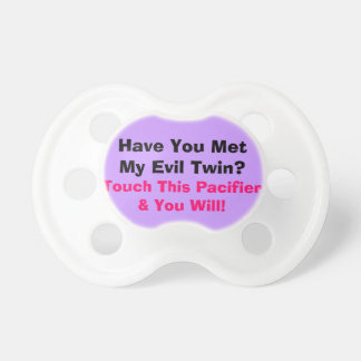Texto divertido gemelo malvado del bebé chupetes para bebés
