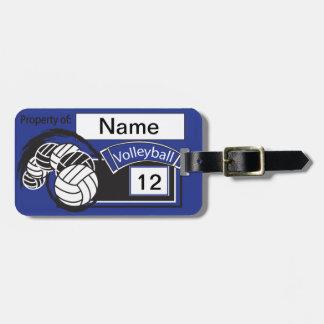 Texto el | del voleibol el | DIY del deporte azul Etiquetas Para Maletas