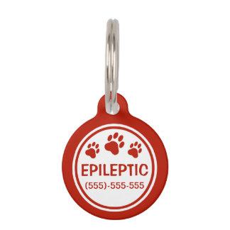 Texto epiléptico rojo y blanco con el identificador para mascotas