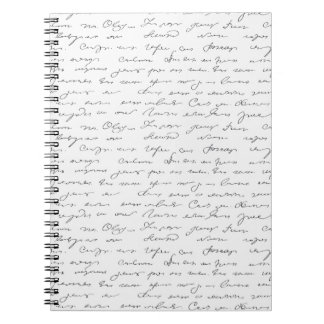 Texto escrito de la mano elegante libretas espirales