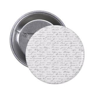 Texto escrito de la mano elegante pin redondo de 2 pulgadas