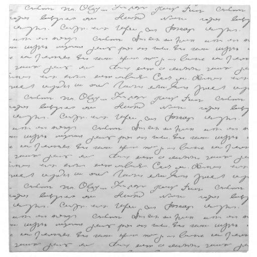 Texto escrito de la mano elegante servilletas imprimidas