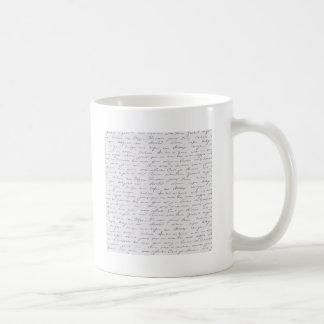 Texto escrito de la mano elegante taza