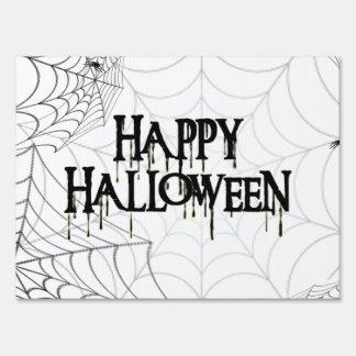 Texto espeluznante de Spiderwebs y del feliz Hallo Carteles