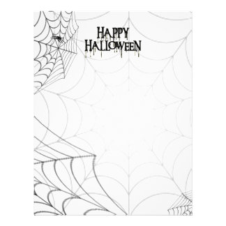 """Texto espeluznante de Spiderwebs y del feliz Hallo Folleto 8.5"""" X 11"""""""