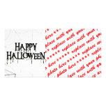 Texto espeluznante de Spiderwebs y del feliz Hallo Tarjetas Fotográficas Personalizadas