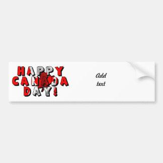 Texto feliz de la bandera del día de Canadá Etiqueta De Parachoque
