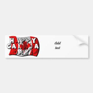Texto feliz de la bandera del día de Canadá con la Etiqueta De Parachoque