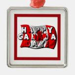 Texto feliz de la bandera del día de Canadá con la Ornamento Para Arbol De Navidad