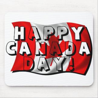 Texto feliz de la bandera del día de Canadá con la Alfombrilla De Raton