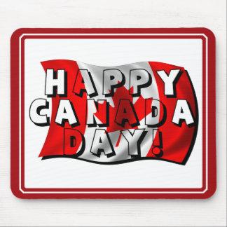 Texto feliz de la bandera del día de Canadá con la Tapete De Raton