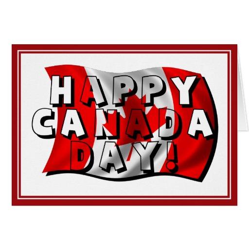 Texto feliz de la bandera del día de Canadá con la Tarjeta