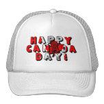 Texto feliz de la bandera del día de Canadá Gorro De Camionero