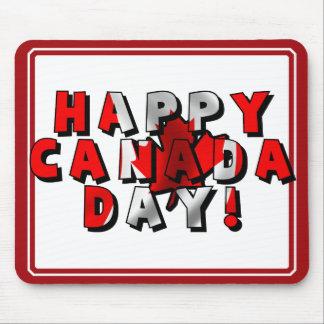 Texto feliz de la bandera del día de Canadá Alfombrilla De Ratón