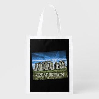TEXTO Gran Bretaña de Stonehenge Inglaterra Bolsa Reutilizable