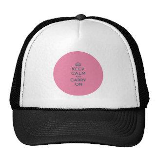 Texto gris en rosa - guarde la calma y continúe gorras de camionero