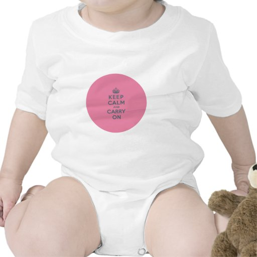 Texto gris en rosa - guarde la calma y continúe trajes de bebé