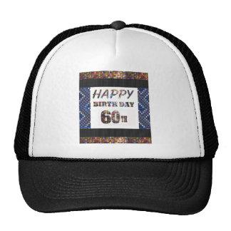 texto happybirthday 60.o del feliz cumpleaños 60 gorras