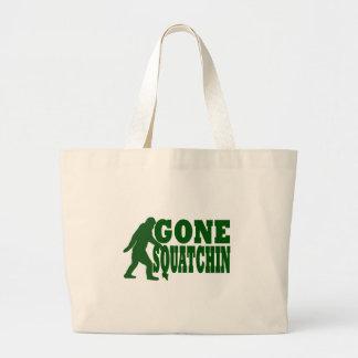 Texto ido verde del lema del squatchin bolsa de tela grande