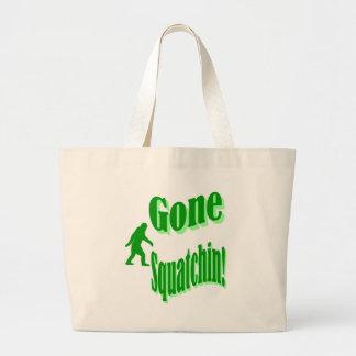 Texto ido verde del lema del squatchin bolsa tela grande