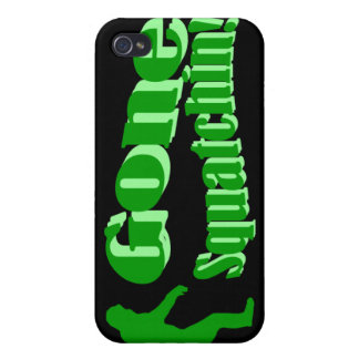 Texto ido verde del lema del squatchin iPhone 4 cárcasas