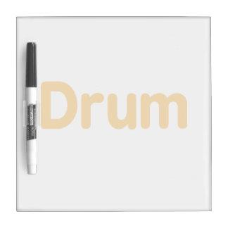 texto l anaranjado diseño del tambor de la música tablero blanco