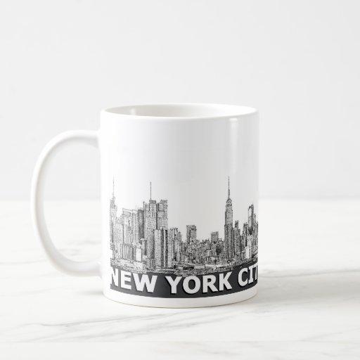 Texto monocromático del horizonte de NYC Taza
