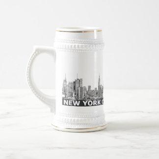 Texto monocromático del horizonte de NYC Jarra De Cerveza