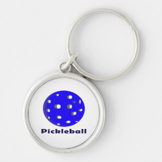 texto n ball.png azul del pickleball llavero redondo plateado