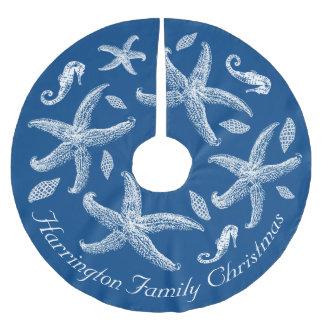 Texto náutico del personalizado del diseño de la falda para arbol de navidad de poliéster