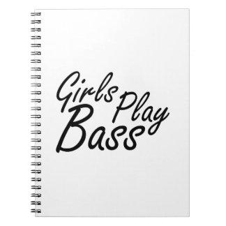 Texto negro bajo del juego de los chicas libros de apuntes con espiral
