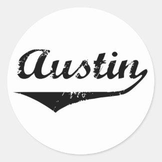 Texto negro de Austin Etiquetas Redondas