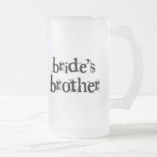 Texto negro de Brother de la novia Taza De Cristal