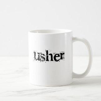 Texto negro de Usher Taza De Café