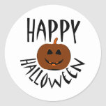 Texto negro del feliz Halloween Pegatina Redonda