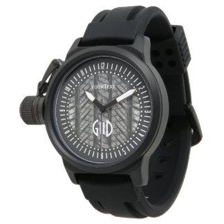 Texto negro del hilo del neumático de goma más relojes de mano