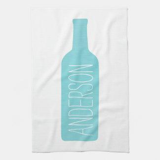 Texto personalizado con el ejemplo azul de la toallas de mano
