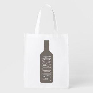 Texto personalizado con el ejemplo de la botella bolsas para la compra