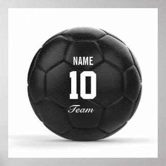 Texto personalizado moderno del balón de fútbol póster