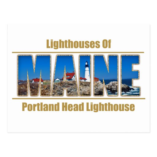 Texto principal de la imagen del faro de Maine Por Tarjetas Postales