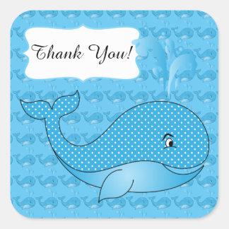 Texto punteado polca azul de la ballena el | DIY Pegatina Cuadrada