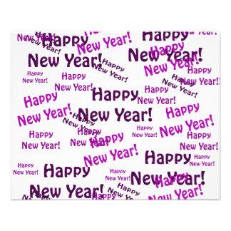 """texto púrpura de la Feliz Año Nuevo Folleto 4.5"""" X 5.6"""""""