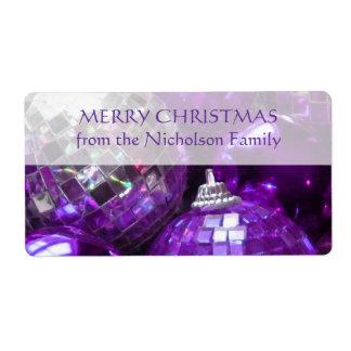 Texto púrpura de la púrpura de la etiqueta de la etiqueta de envío