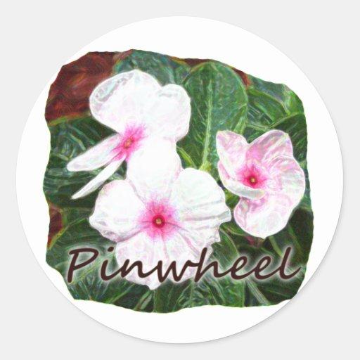 Texto púrpura de las flores de molinillo de viento pegatina redonda