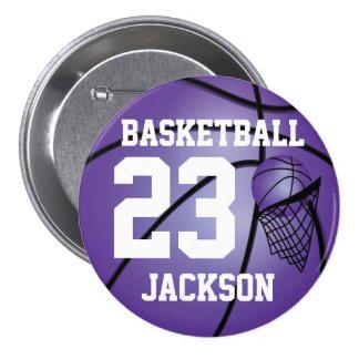 Texto púrpura del baloncesto el   DIY Pin Redondo 7 Cm