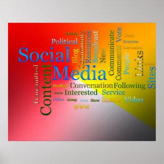 Texto relacionado de los medios sociales póster