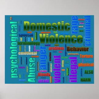 Texto relacionado del abuso de la violencia en el  póster